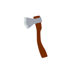 wooden axe with metal blade in flat style vector image
