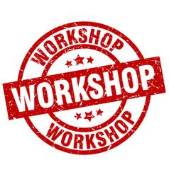 Workshop round red grunge stamp vector