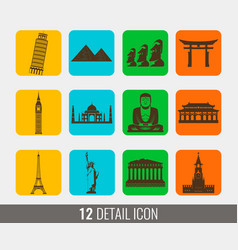 World landmarks silhouettes elements set vector