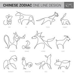 zodiac animal icons chinese horoscope new year vector image