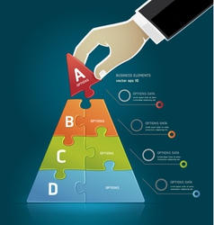 Businessman hand making a pyramid puzzle options vector image