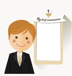 foreground child costume in her first communion vector image vector image