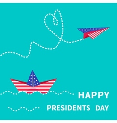 Presidents Day background Paper boat and vector image vector image