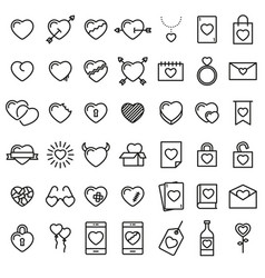 set of 42 simple icons with hearts vector image vector image