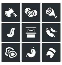 Set of Butcher Shop Icons Ax Sausage Ham vector image vector image