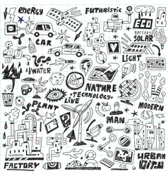 technology - doodles set vector image vector image