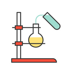 Test tube pouring agent to flask vector