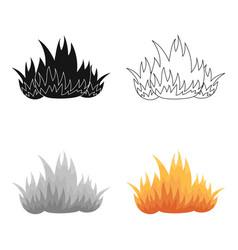 fire icon cartoon single silhouette fire vector image vector image