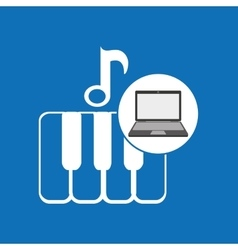 laptop music technology keyboard piano vector image vector image