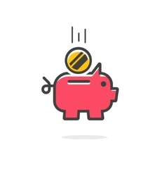 Piggy bank coin icon isolated vector image vector image