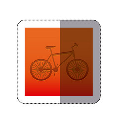 sticker color background with carved bike vector image vector image