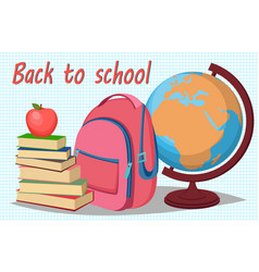 back to school stack of books with apple on top vector image vector image