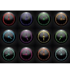 clock symbol set color on black background vector image