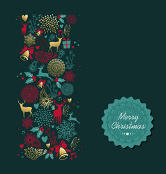 merry christmas gold deer pattern greeting card vector image vector image