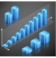 metallic infographics blue elements vector image