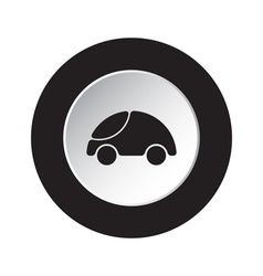 round black white button - cute rounded car icon vector image