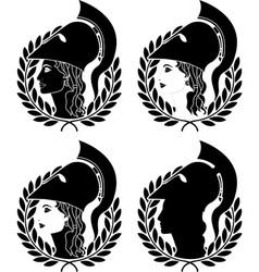 set of athena profiles stencils vector image vector image