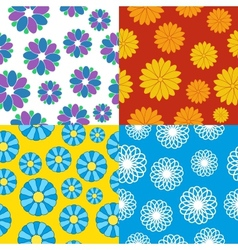 set of seamless flower patterns vector image