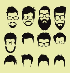 cartoon hairstyles with beards and mustache vector image