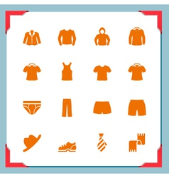 Clothes icons In a frame series vector image vector image