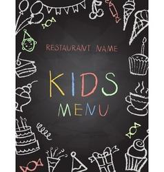 Desserts menu on chalk board vector