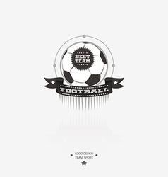 Soccer and football emblem logo badge with ribbon vector image