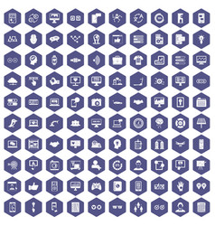 100 interface icons hexagon purple vector