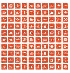 100 water sport icons set grunge orange vector