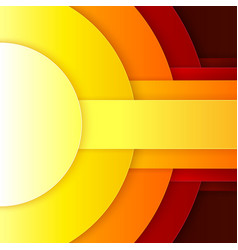 Abstract red orange and yellow paper round shapes vector