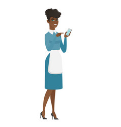 african cleaner holding a mobile phone vector image
