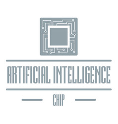 Artificial intelligence logo simple gray style vector