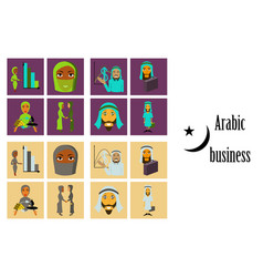 assembly of flat icons on theme arabic business vector image