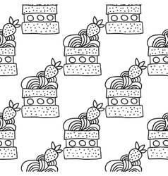 Black and white seamless pattern with cakes for vector image vector image