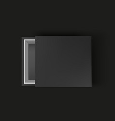 black empty box mock up on black background top vector image