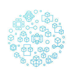 blockchain technology circular blue line vector image