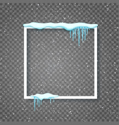 border with realistic snow and icicles beautiful vector image