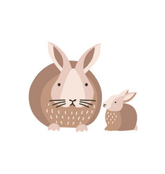 Bunny or rabbit with baby isolated on white vector