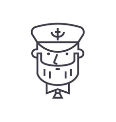 Captain with nautical hat concept thin line vector