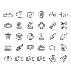 Car parts icon set in thin line style vector
