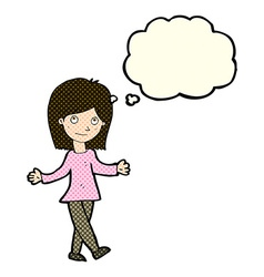 Cartoon woman with no worries with thought bubble vector