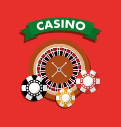 Casino roulette wheel chips gamble symbol vector