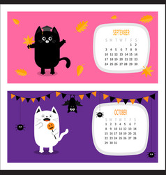 Cat calendar 2017 horizontal cute funny cartoon vector