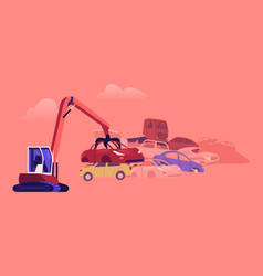 Character working on grabber loading old junk cars vector