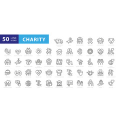 charity and donation icon set line style vector image