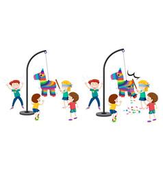 Children hitting pinata game vector