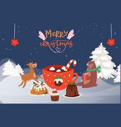 christmas party in winter forest with cartoon vector image