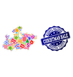Christmas sale composition of mosaic map of madhya vector