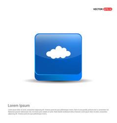 cloud icon - 3d blue button vector image