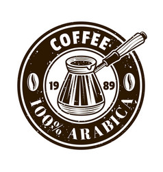 coffee shop round emblem with turkish cezve vector image