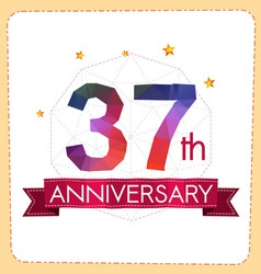 Colorful polygonal anniversary logo 2 037 vector